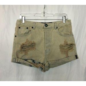 One Teaspoon Off-White Denim Shorts Size 28